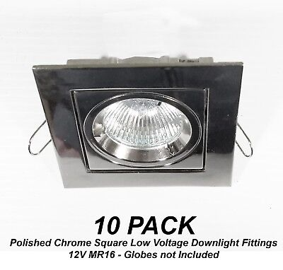 10x Polished Chrome SQUARE Gimble Downlight Fittings 12V MR16 Gimbal Low Voltage