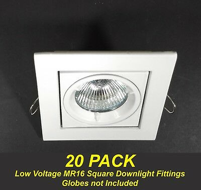 20 x White SQUARE Gimble Downlight Fittings 12V MR16 Gimbal Tiltable Low Voltage