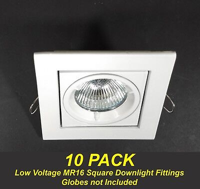 10 x White SQUARE Gimble Downlight Fittings 12V MR16 Gimbal Tiltable Low Voltage