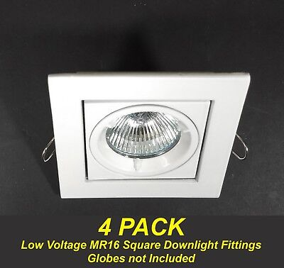 4 x White SQUARE Gimble Downlight Fittings 12V MR16 Gimbal Tiltable Low Voltage