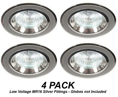4 x Silver Chrome Fixed Downlight Fittings 12V MR16 Low Voltage 70mm Cutout