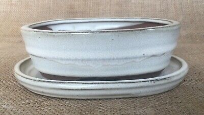 Whte Glazed Oval Bonsai Pot With Matching Drip Tray 15x11x4.5cm