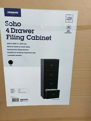 J.Burrows SOHO 4 Drawer Black Filing Cabinet open box with keys great condition