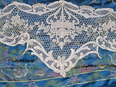 Art Nouveau hand knitted crochet table runner doily