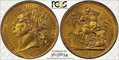 1824 George Iv Sovereign Rare Laureate Head Guaranteed Certified Pcgs