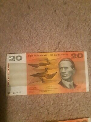 Three consec XFF $20 Australian Bank Notes in Very Good Cond