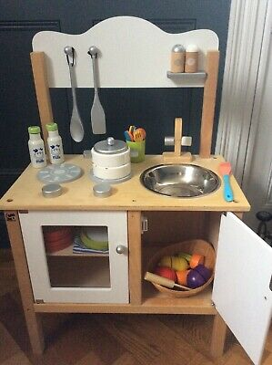 Children's wooden role play kitchen with accessories