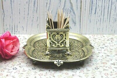 Victorian brass holder, ornate brass matchstick holder, cocktail stick holder