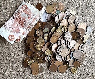 Bulk lot British predecimal coins and banknotes 2.4kg