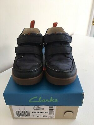 Boys Clarks Pass Fly Navy Combi Synthetic Trainers