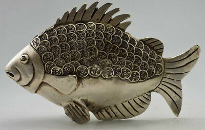 Collectible Decorated Old China Handwork Silver Copper Fish Statue