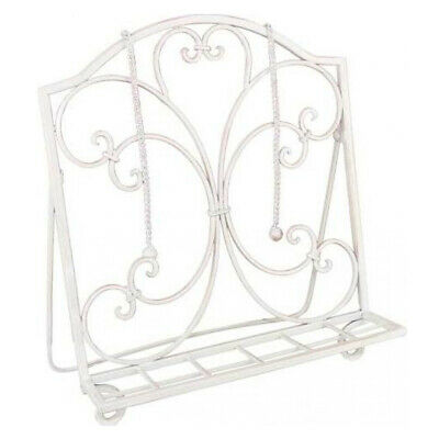 French Country Vintage Kitchen Wrought Iron White Recipe Book Holder New