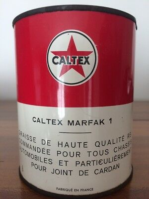 Ancien Pot Graisse bidon huile Öl dose oil can kÄnne CALTEX plein