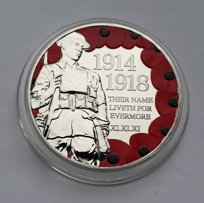 2018 Isle of Man Centenary Remembrance WW1 Colour Poppy 1 Crown BU Coin - New