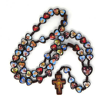 Saints rosary beads with Assisi cross dark brown wood Catholic heart shaped