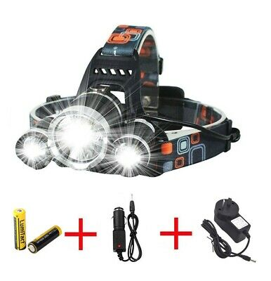 2019 RECHARGEABLE 35000LM 3X XML LED HEADLAMP HEADLIGHT TORCH FLASHLIGHT Hiking