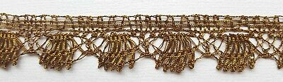 """Vin. Gold Metallic  Lace Trim Warm Patina Scalloped 7/8"""" Wide French $14.99 p/yd"""