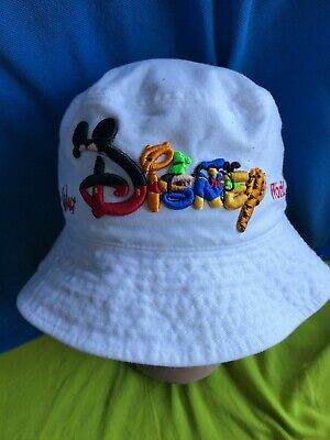 0d874c1518a Disney Mickey Mouse Kids Bucket Hat White Embroidery Sun Fishing Floppy
