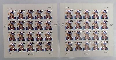 Lot of 2 US Postage Stamps Sheet SCOTT # 3259 UNCLE SAM 22 Cent MNH 20 each