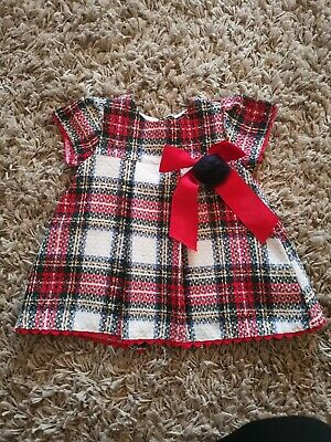 Baby Girls Spanish Baby Age 3-6 Months Girl Tartan Dress Romany