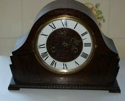 1930's Vintage Art Deco 8 day oak mantle clock