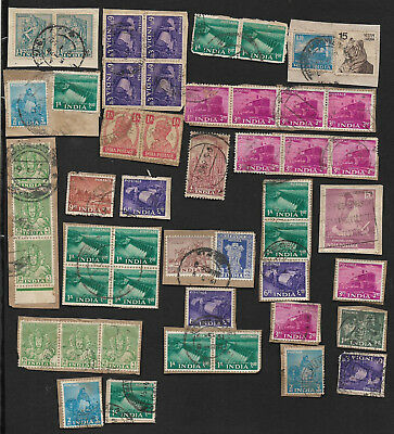 (111cents) India Collection of used Stamps on Piece x 50