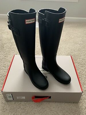 83f0e42c9d2 Hunter Womens Black Original Refined Matte Rain BOOTS Tall US Size 5 UK Size  3