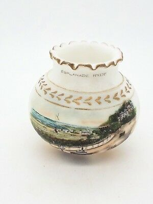 Antique White Satin Glass Vase Hand Decorated / Gilded Esplanade Ryde IOW