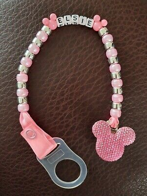 Personalised Dummy Clip Disney Mickey Mouse Pink Blue Baby Girl Boy MAM adapter
