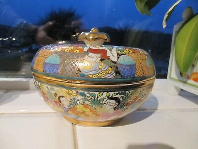 Hand Painted Gilded Porcelain China Lidded Bowl Made in Thailand