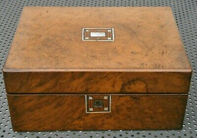 Antique Victorian Walnut and Mother of Pearl Inlaid Sewing Box For Restoration