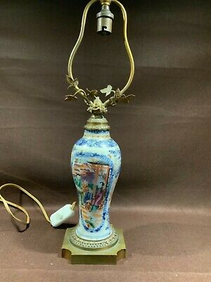 Lampe porcelaine chinoise ancienne  personnages paysages bronze  laiton