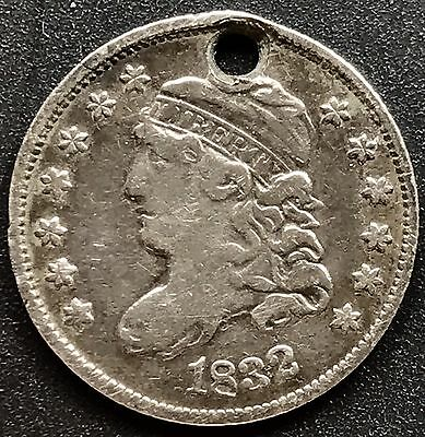 1832 Capped Bust Half Dime 5c High Grade VF Holed #6204