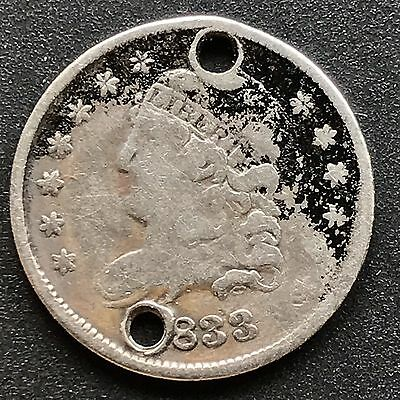 1833 Capped Bust Half Dime 5c nice coin Better Grade Holed #6209