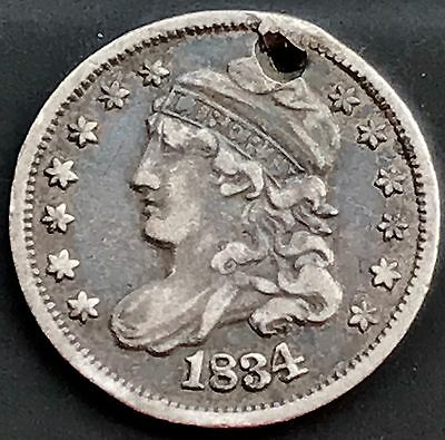1834 Capped Bust Half Dime 5c nice XF Details Holed 4196