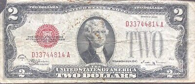 USA 2 Dollar 1928 E United States Note Red Seal Banknote Schein Two  #11261