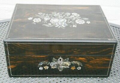 Superb Antique Victorian Coromandel and Inlaid Sewing Box For Restoration