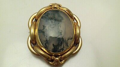 Antique Victorian Large Gold Plated Agate Locket Brooch