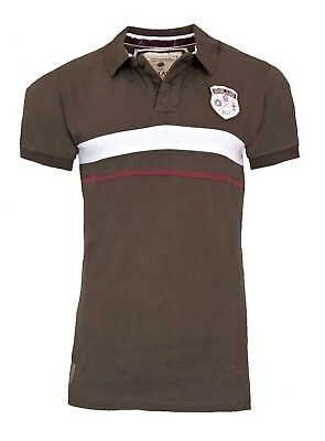 MENS SMALL Official ENGLAND RFU Rugby 1871 Block Polo Shirt Union Top T Brown