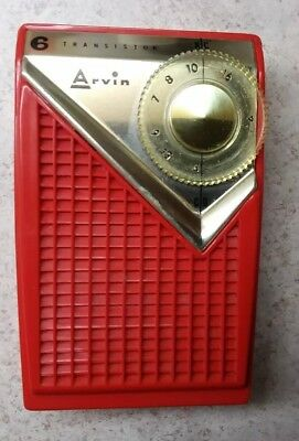 Arvin Red Transistor Radio Beautiful And It Works!