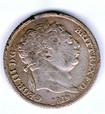 1819 (Small 8)   George Iii Silver Sixpence In Collectable  Grade