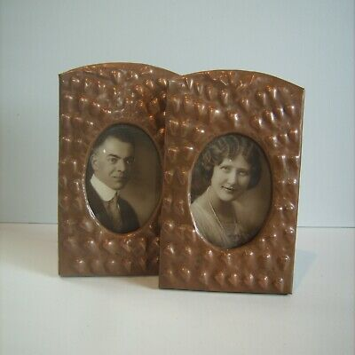 PAIR Arts & Crafts / Art Nouveau Copper Hand Hammered Folk Art Photo Frame 9""