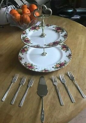 Royal Albert Country Roses Cake Stand+Silver Plate Cake Forks