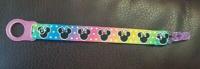 Girl baby child Ribbon dummy clip MAM adapter Disney Minnie Mouse Rainbow Ombre