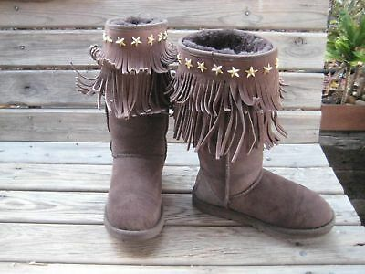 3a84a4c90e1 Womens UGG Jimmy Choo Sora Chocolate Fringe Suede Boots Size 5 LIMITED  EDITION