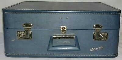 Vintage Blue Monarch Suitcase With Keys Large Luggage