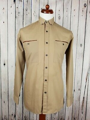 """Vtg 1980s Brown Long Sleeve Button Down Polycotton Shirt (Marked)  -15""""/M- HT22"""