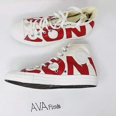 CONVERSE CHUCK TAYLOR All Star Hi Wordmark Spell Out RedWhite Mens Mens Size 9