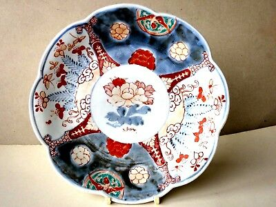 ANTIQUE Japanese PORCELAIN PLATE  SCALLOPED EDGE Arita IMARI PATTERN