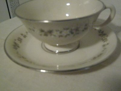 LENOX china BROOKDALE Patten H500 Footed Cup & Saucer Yellow White Flowers
